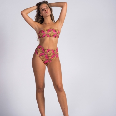 Flowers Strapless Ribbed Lace Up High Cut Two Piece Set Bikini